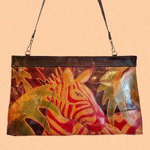 Vintage coloured leather safari zebra bag